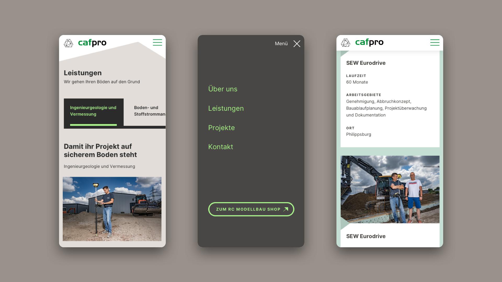User Interface mit mobiler Ansicht