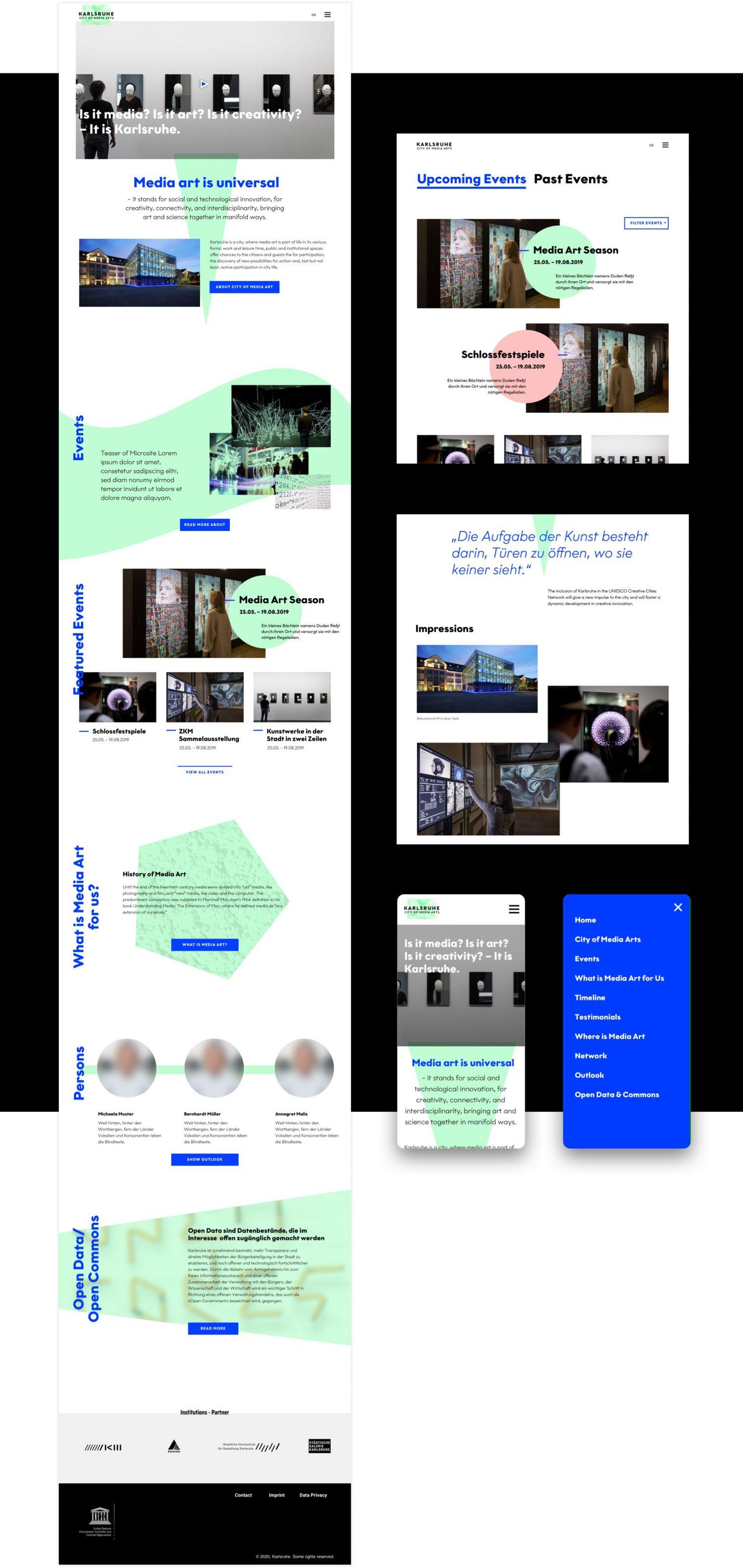User Interface Design für die Website der Unesco City of Media Art Karlsruhe